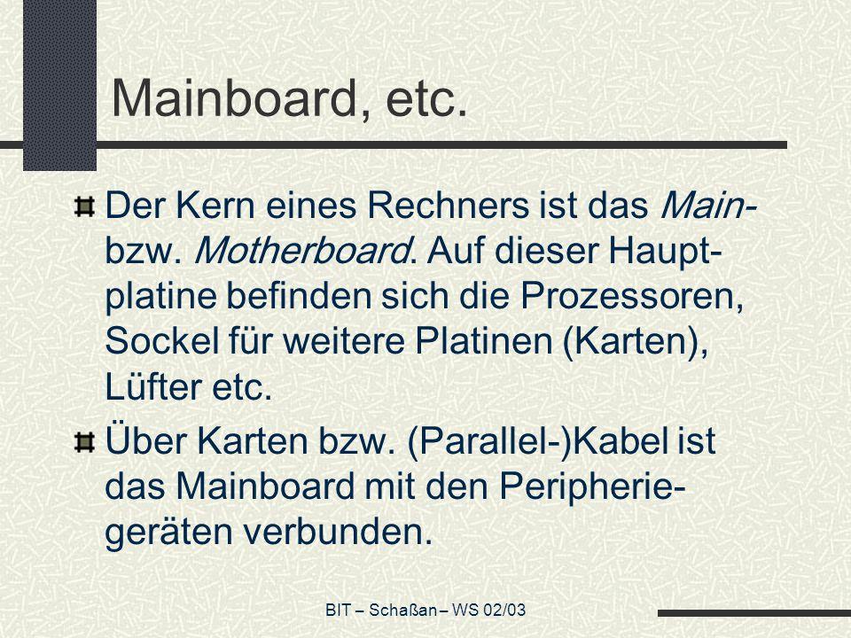 BIT – Schaßan – WS 02/03 Mainboard, etc. Der Kern eines Rechners ist das Main- bzw.