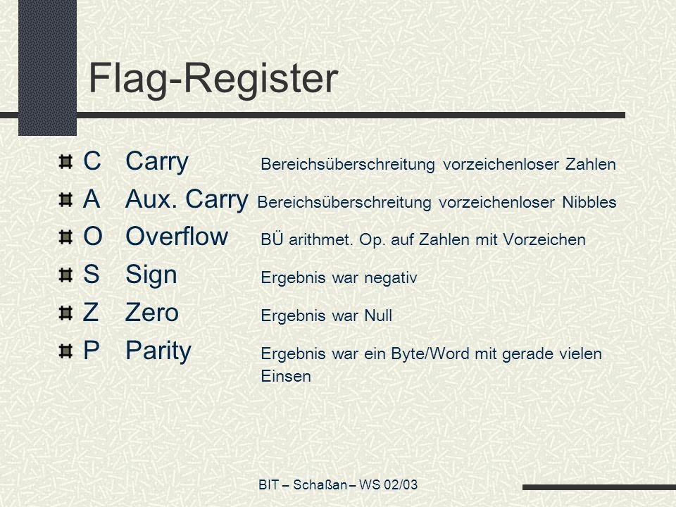 BIT – Schaßan – WS 02/03 Flag-Register CCarry Bereichsüberschreitung vorzeichenloser Zahlen AAux.