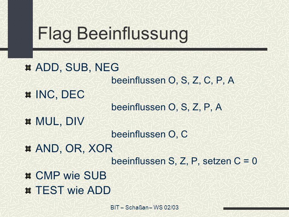 BIT – Schaßan – WS 02/03 Flag Beeinflussung ADD, SUB, NEG beeinflussen O, S, Z, C, P, A INC, DEC beeinflussen O, S, Z, P, A MUL, DIV beeinflussen O, C AND, OR, XOR beeinflussen S, Z, P, setzen C = 0 CMP wie SUB TEST wie ADD
