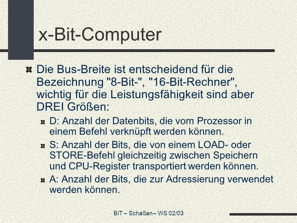 BIT – Schaßan – WS 02/03 Addressierungsarten direkt: LOAD A, B lädt den Inhalt von B nach A LD B, 61h lädt den Wert 61h nach B 61h = 0x61 ADD A, B A+B, Ergebnis nach A ADD B, 2h B+2h, Ergebnis nach B SHL multipliziert den Wert des Akku mit 2 INC A inkrementiert A