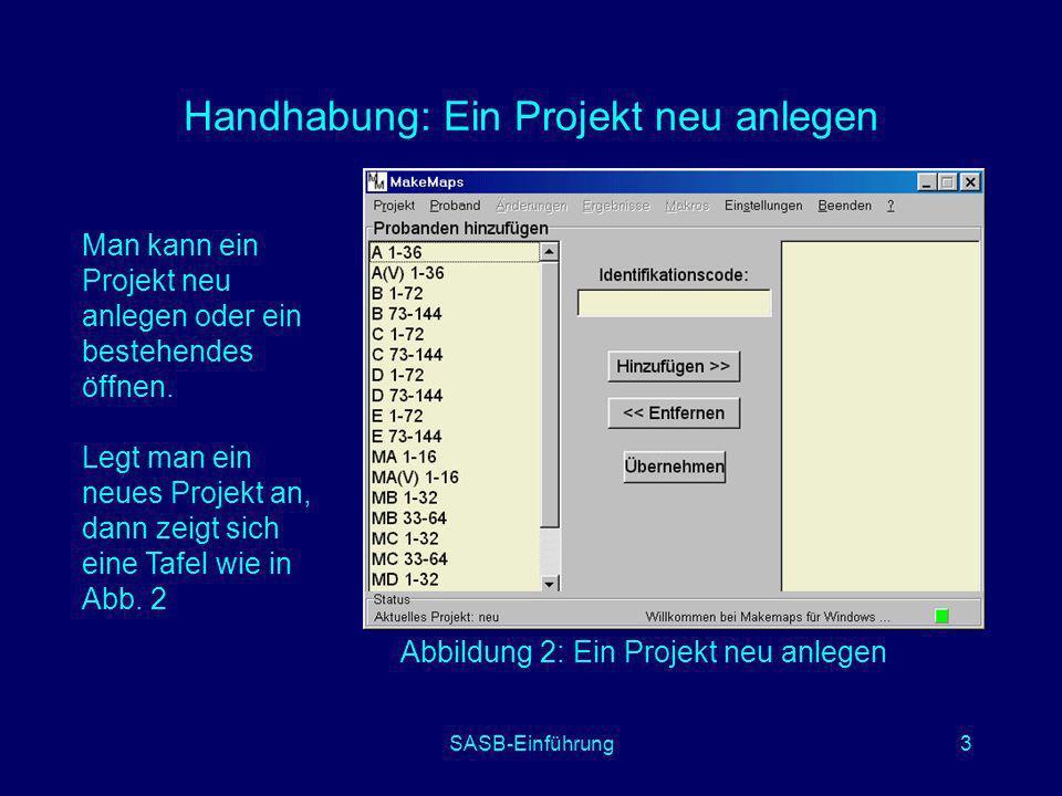 SASB-Einführung3 Handhabung: Ein Projekt neu anlegen Man kann ein Projekt neu anlegen oder ein bestehendes öffnen. Legt man ein neues Projekt an, dann