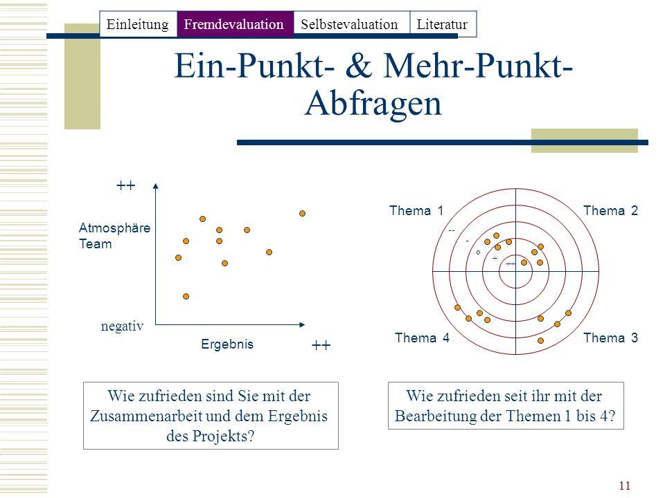 11 Ein-Punkt- & Mehr-Punkt- Abfragen Atmosphäre Team Ergebnis Thema 1 Thema 4Thema 3 Thema 2 ++ negativ Wie zufrieden sind Sie mit der Zusammenarbeit