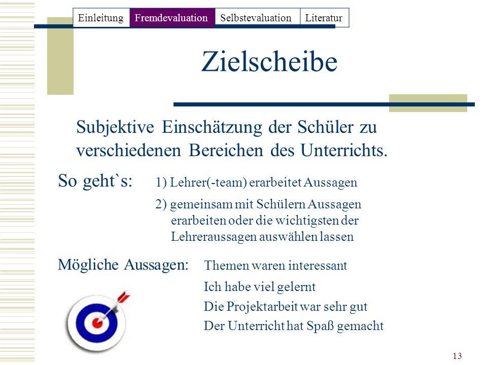 13 Zielscheibe Subjektive Einschätzung der Schüler zu verschiedenen Bereichen des Unterrichts. So geht`s: 1) Lehrer(-team) erarbeitet Aussagen 2) geme