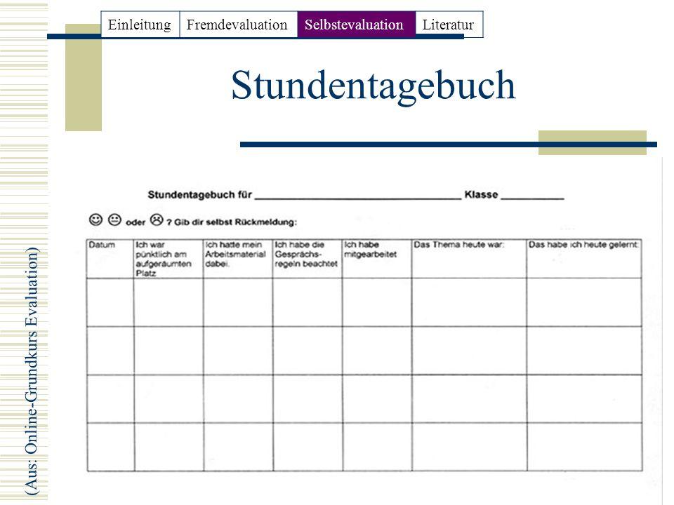 16 Stundentagebuch (Aus: Online-Grundkurs Evaluation) EinleitungFremdevaluationSelbstevaluationLiteratur