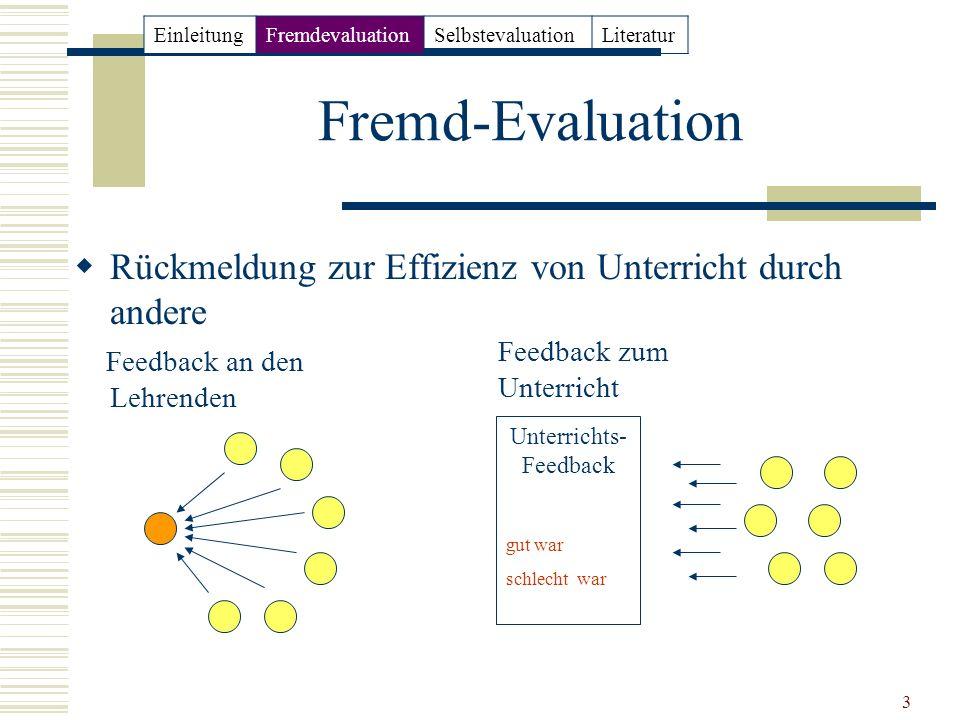 3 Fremd-Evaluation Rückmeldung zur Effizienz von Unterricht durch andere Feedback an den Lehrenden Unterrichts- Feedback gut war schlecht war Feedback