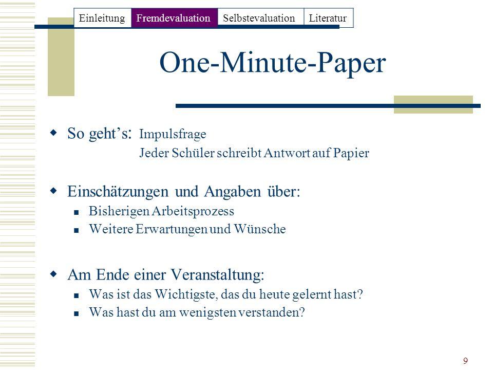 9 One-Minute-Paper So gehts : Impulsfrage Jeder Schüler schreibt Antwort auf Papier Einschätzungen und Angaben über: Bisherigen Arbeitsprozess Weitere