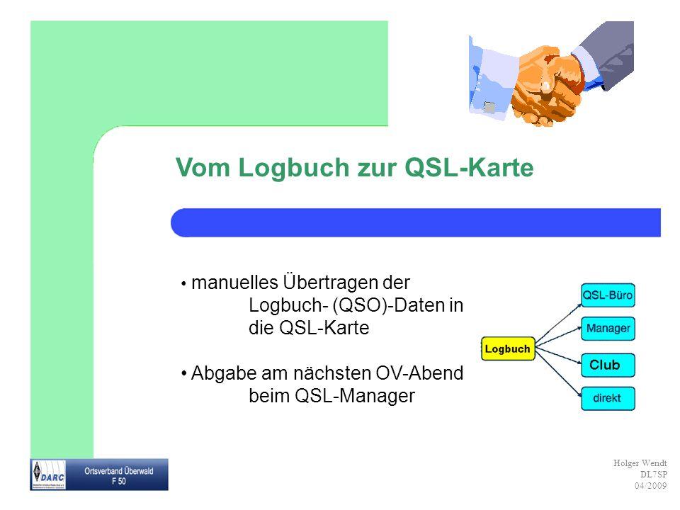 Holger Wendt DL7SP 04/2009 Vom Logbuch zur QSL-Karte manuelles Übertragen der Logbuch- (QSO)-Daten in die QSL-Karte Abgabe am nächsten OV-Abend beim Q