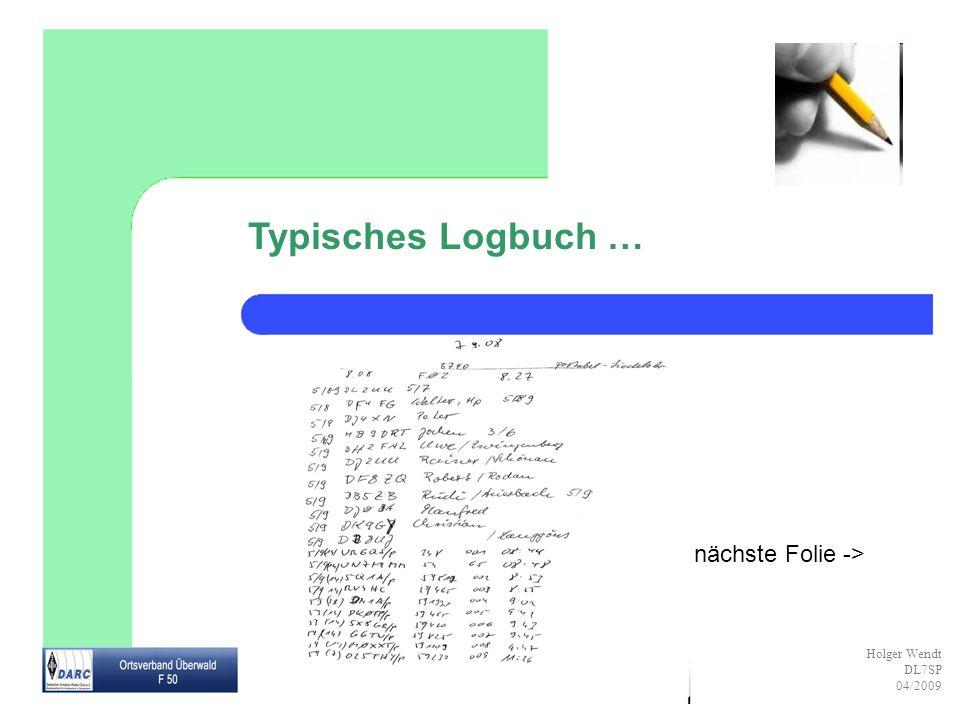 Holger Wendt DL7SP 04/2009 Die QSL-Karte Für die QSO-Bestätigung werden eingetragen: Rufzeichen der Gegenstation (Empfänger) (ggf.