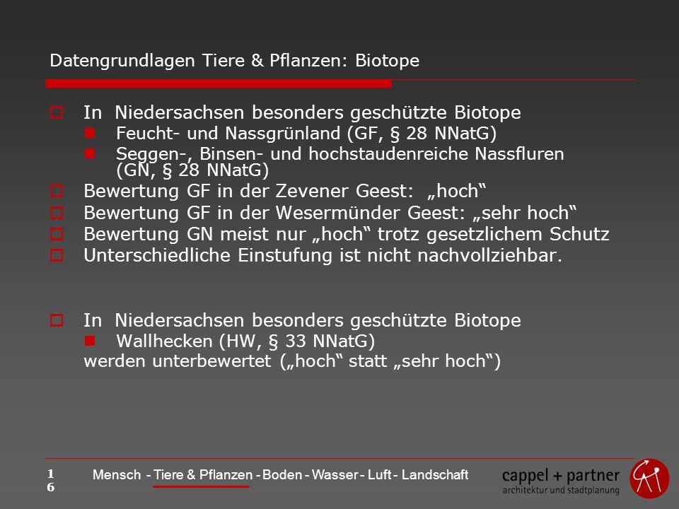 16 Mensch - Tiere & Pflanzen - Boden - Wasser - Luft - Landschaft Datengrundlagen Tiere & Pflanzen: Biotope In Niedersachsen besonders geschützte Biotope Feucht- und Nassgrünland (GF, § 28 NNatG) Seggen-, Binsen- und hochstaudenreiche Nassfluren (GN, § 28 NNatG) Bewertung GF in der Zevener Geest: hoch Bewertung GF in der Wesermünder Geest: sehr hoch Bewertung GN meist nur hoch trotz gesetzlichem Schutz Unterschiedliche Einstufung ist nicht nachvollziehbar.