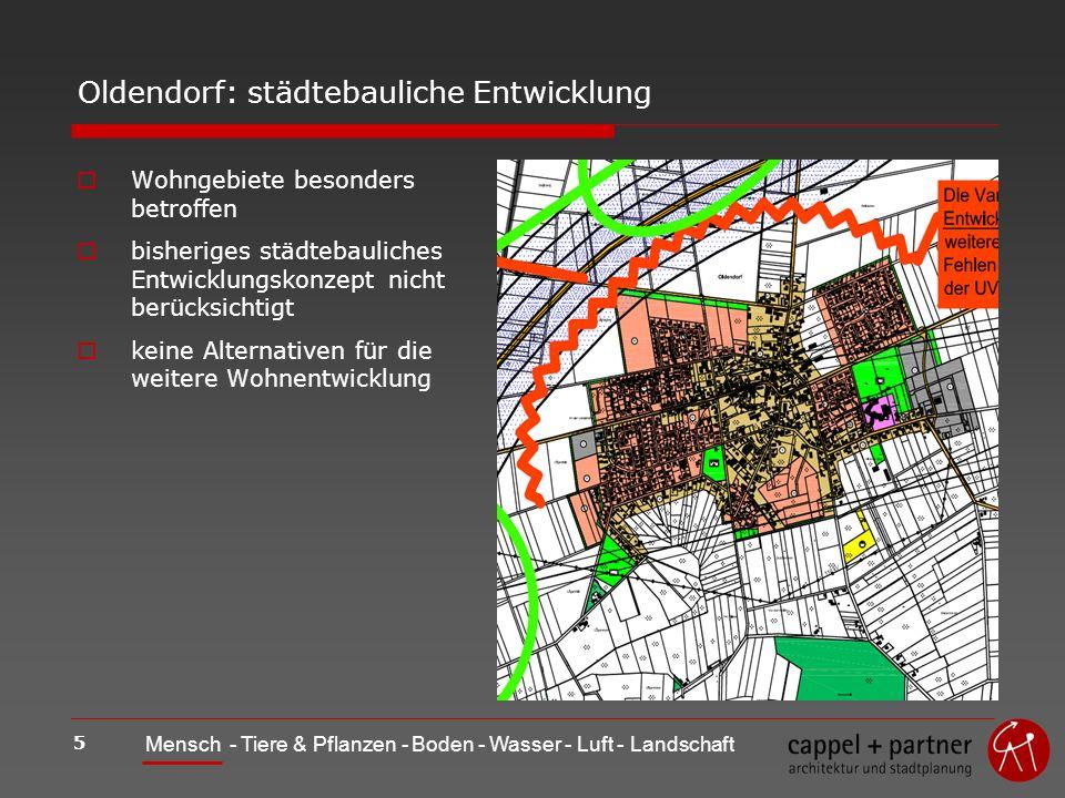 5 Mensch - Tiere & Pflanzen - Boden - Wasser - Luft - Landschaft Oldendorf: städtebauliche Entwicklung Wohngebiete besonders betroffen bisheriges städtebauliches Entwicklungskonzept nicht berücksichtigt keine Alternativen für die weitere Wohnentwicklung
