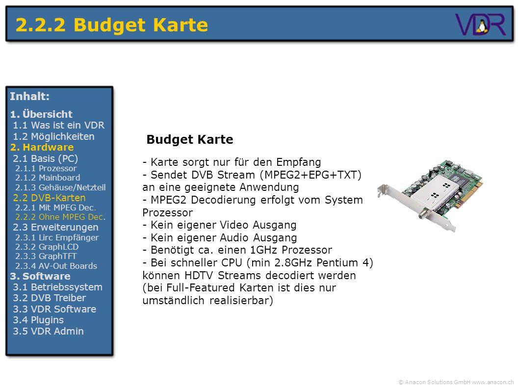 © Anacon Solutions GmbH www.anacon.ch 2.2.2 Budget Karte - Karte sorgt nur für den Empfang - Sendet DVB Stream (MPEG2+EPG+TXT) an eine geeignete Anwen
