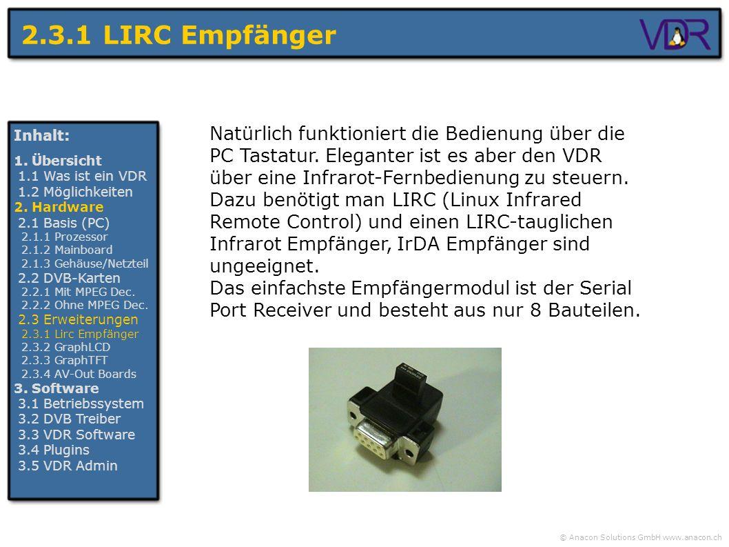 © Anacon Solutions GmbH www.anacon.ch 2.3.1 LIRC Empfänger Inhalt: 1. Übersicht 1.1 Was ist ein VDR 1.2 Möglichkeiten 2. Hardware 2.1 Basis (PC) 2.1.1