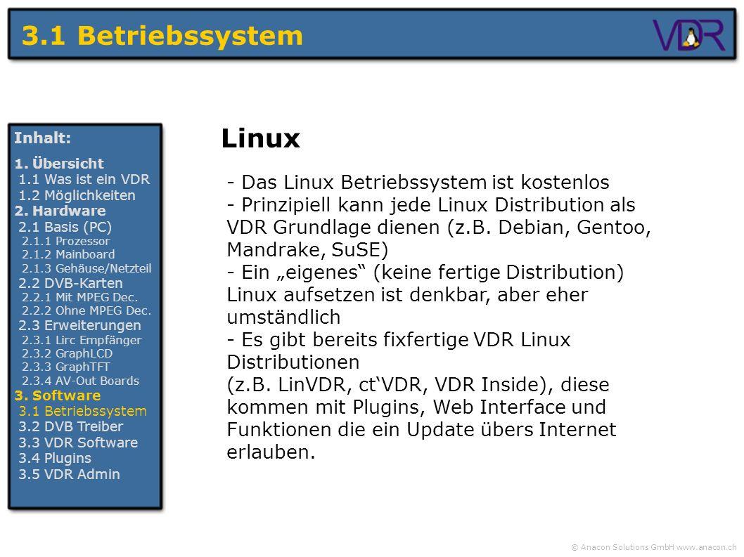 © Anacon Solutions GmbH www.anacon.ch 3.1 Betriebssystem Inhalt: 1. Übersicht 1.1 Was ist ein VDR 1.2 Möglichkeiten 2. Hardware 2.1 Basis (PC) 2.1.1 P