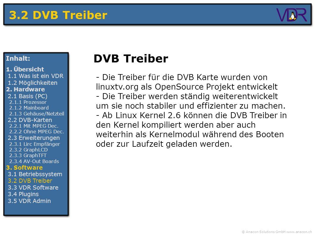 © Anacon Solutions GmbH www.anacon.ch 3.2 DVB Treiber Inhalt: 1. Übersicht 1.1 Was ist ein VDR 1.2 Möglichkeiten 2. Hardware 2.1 Basis (PC) 2.1.1 Proz