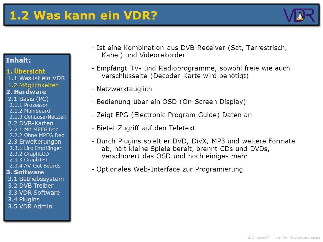© Anacon Solutions GmbH www.anacon.ch 1.2 Was kann ein VDR? - Ist eine Kombination aus DVB-Receiver (Sat, Terrestrisch, Kabel) und Videorekorder - Emp