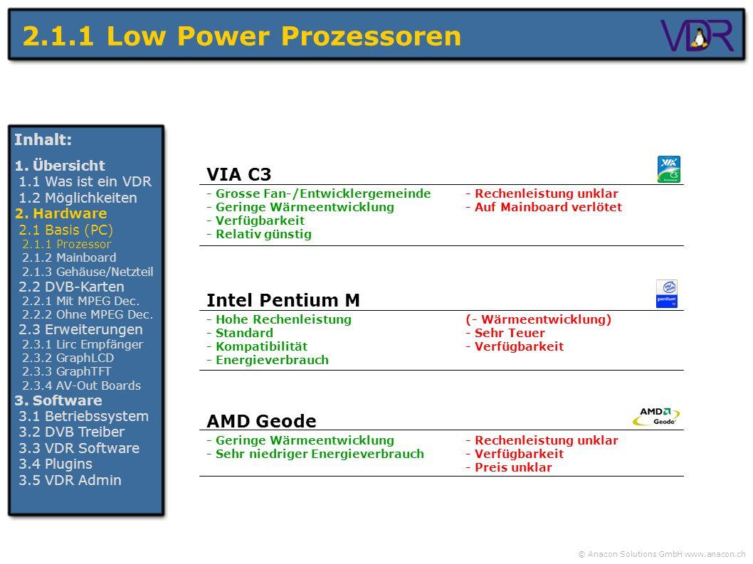 © Anacon Solutions GmbH www.anacon.ch 2.1.1 Low Power Prozessoren Inhalt: 1. Übersicht 1.1 Was ist ein VDR 1.2 Möglichkeiten 2. Hardware 2.1 Basis (PC