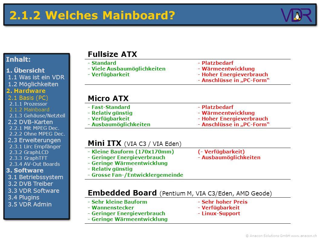 © Anacon Solutions GmbH www.anacon.ch 2.1.2 Welches Mainboard? Inhalt: 1. Übersicht 1.1 Was ist ein VDR 1.2 Möglichkeiten 2. Hardware 2.1 Basis (PC) 2