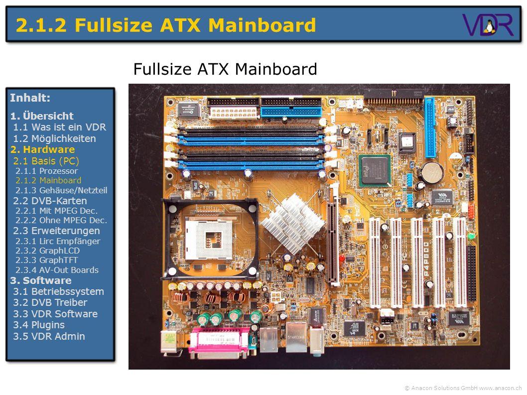 © Anacon Solutions GmbH www.anacon.ch 2.1.2 Fullsize ATX Mainboard Fullsize ATX Mainboard Inhalt: 1. Übersicht 1.1 Was ist ein VDR 1.2 Möglichkeiten 2