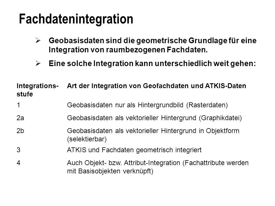 Fachdatenintegration Geobasisdaten sind die geometrische Grundlage für eine Integration von raumbezogenen Fachdaten. Eine solche Integration kann unte