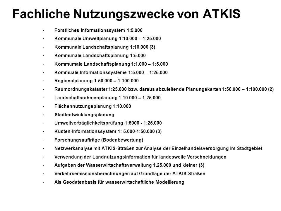 Fachliche Nutzungszwecke von ATKIS · Forstliches Informationssystem 1:5.000 · Kommunale Umweltplanung 1:10.000 – 1:25.000 · Kommunale Landschaftsplanu