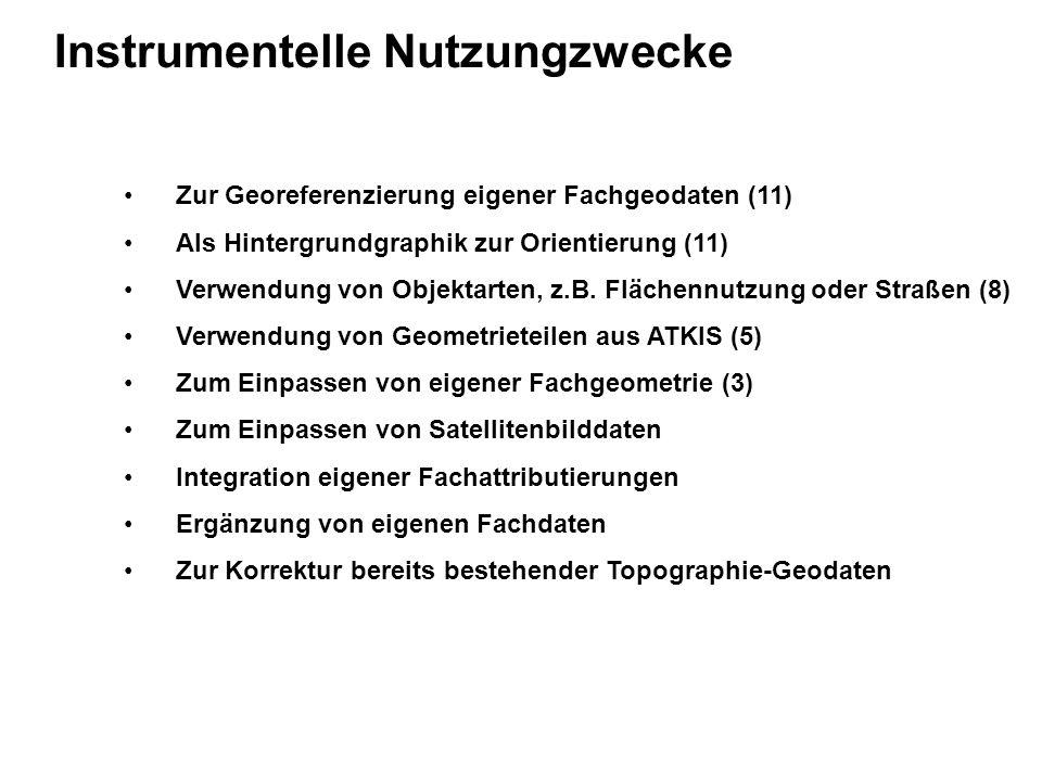 Instrumentelle Nutzungzwecke Zur Georeferenzierung eigener Fachgeodaten (11) Als Hintergrundgraphik zur Orientierung (11) Verwendung von Objektarten, z.B.