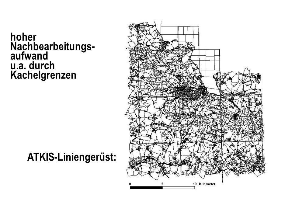 hoher Nachbearbeitungs- aufwand u.a. durch Kachelgrenzen ATKIS-Liniengerüst: