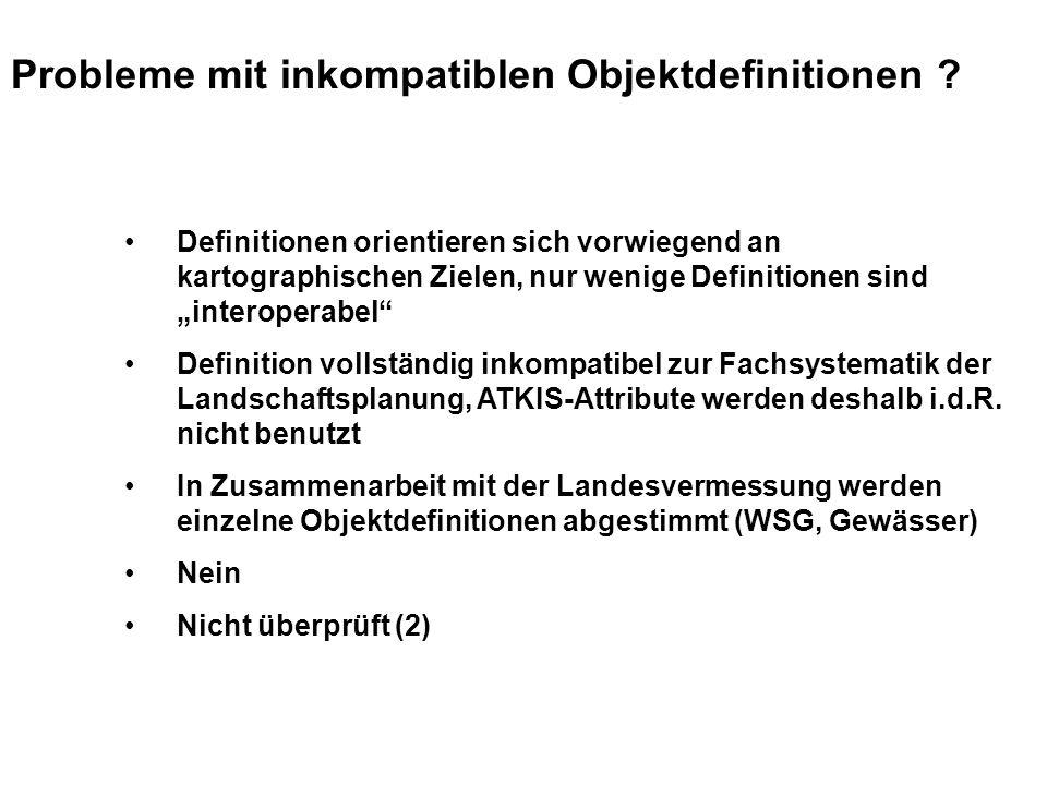 Probleme mit inkompatiblen Objektdefinitionen .