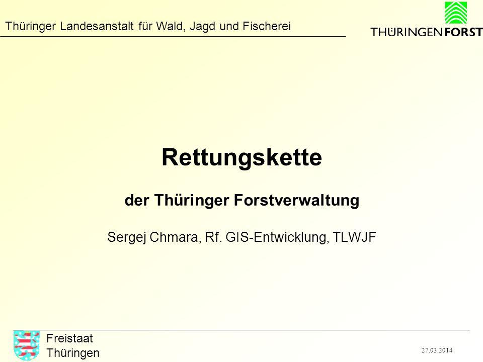 Thüringer Landesanstalt für Wald, Jagd und Fischerei Freistaat Thüringen 27.03.2014 Rettungskette der Thüringer Forstverwaltung Sergej Chmara, Rf. GIS