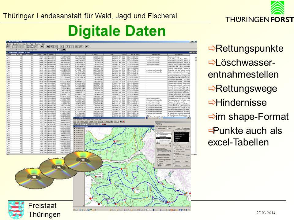 Thüringer Landesanstalt für Wald, Jagd und Fischerei Freistaat Thüringen 27.03.2014 Digitale Daten Rettungspunkte Löschwasser- entnahmestellen Rettung