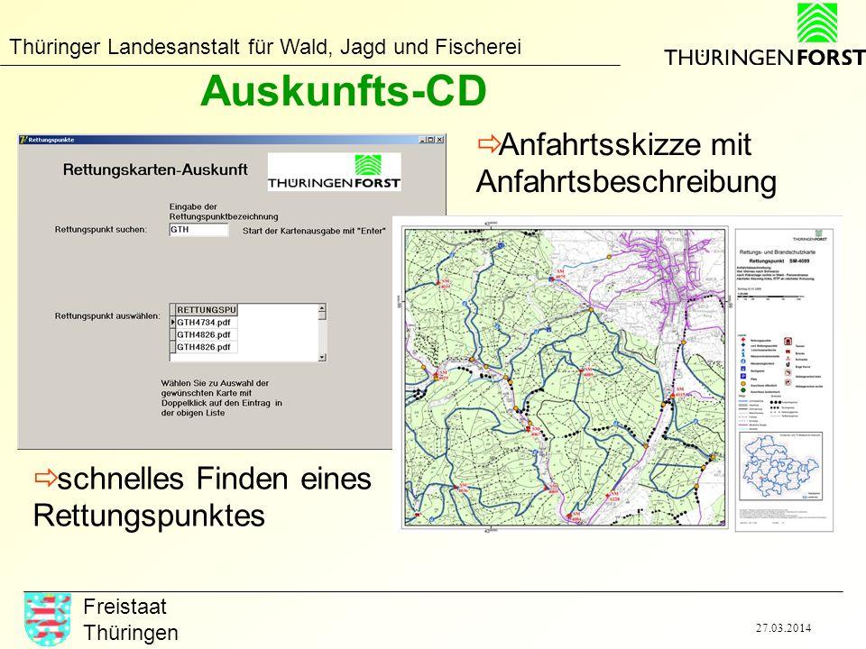 Thüringer Landesanstalt für Wald, Jagd und Fischerei Freistaat Thüringen 27.03.2014 Auskunfts-CD schnelles Finden eines Rettungspunktes Anfahrtsskizze