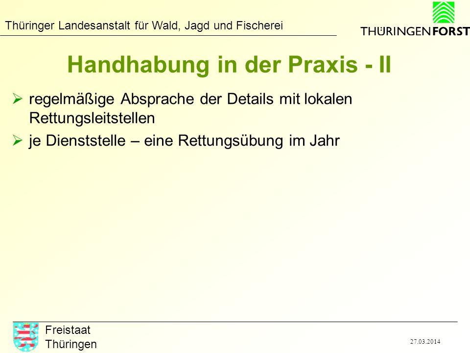 Thüringer Landesanstalt für Wald, Jagd und Fischerei Freistaat Thüringen 27.03.2014 Handhabung in der Praxis - II regelmäßige Absprache der Details mi