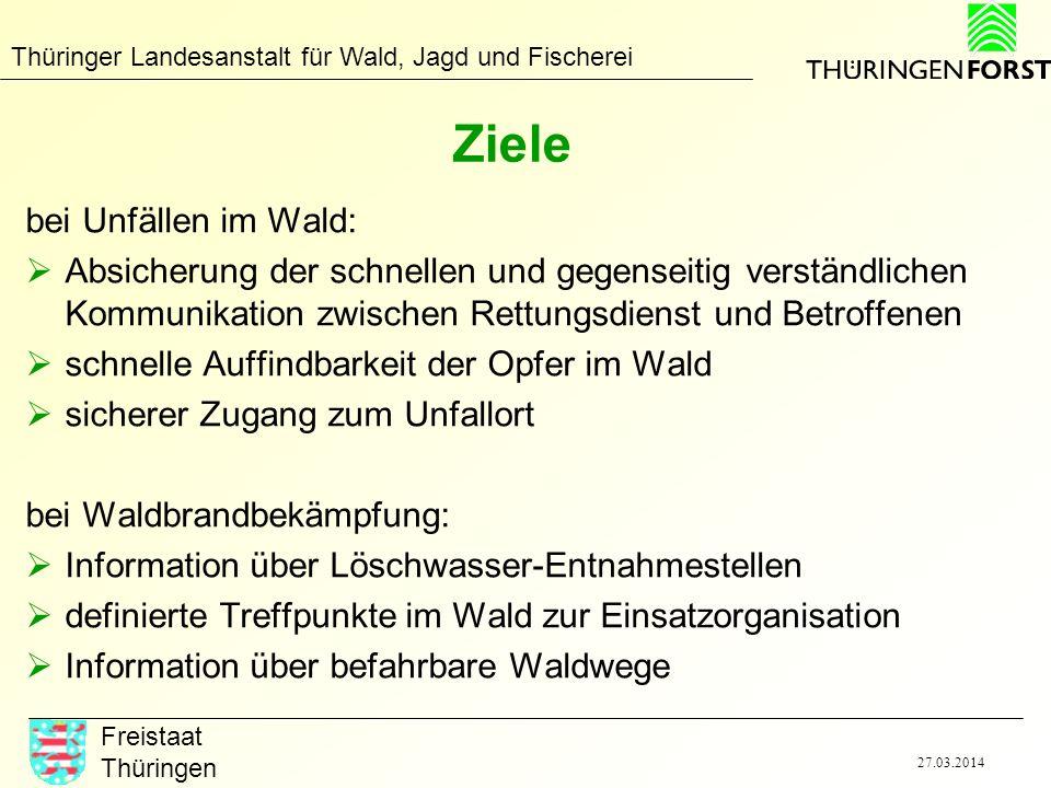 Thüringer Landesanstalt für Wald, Jagd und Fischerei Freistaat Thüringen 27.03.2014 Ziele bei Unfällen im Wald: Absicherung der schnellen und gegensei
