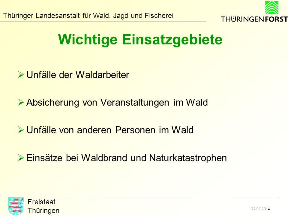 Thüringer Landesanstalt für Wald, Jagd und Fischerei Freistaat Thüringen 27.03.2014 Wichtige Einsatzgebiete Unfälle der Waldarbeiter Absicherung von V