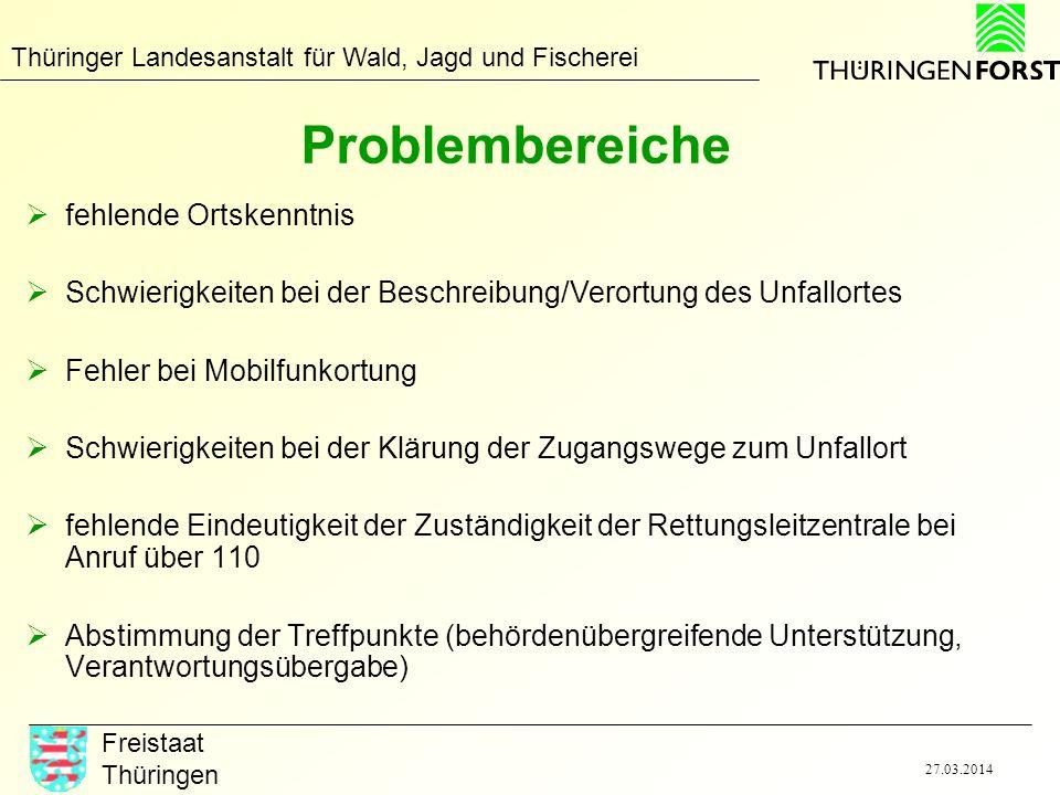 Thüringer Landesanstalt für Wald, Jagd und Fischerei Freistaat Thüringen 27.03.2014 Problembereiche fehlende Ortskenntnis Schwierigkeiten bei der Besc