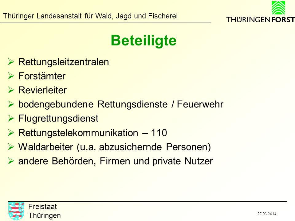 Thüringer Landesanstalt für Wald, Jagd und Fischerei Freistaat Thüringen 27.03.2014 Beteiligte Rettungsleitzentralen Forstämter Revierleiter bodengebu