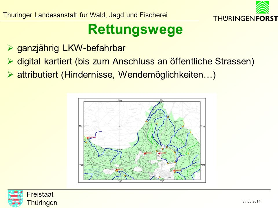 Thüringer Landesanstalt für Wald, Jagd und Fischerei Freistaat Thüringen 27.03.2014 Rettungspunkte / Löschwasserentnahmestellen Anlaufpunkt für Rettungsfahrzeuge Treffpunkt mit Anrufer bzw.