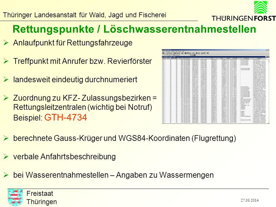 Thüringer Landesanstalt für Wald, Jagd und Fischerei Freistaat Thüringen 27.03.2014 Produkte für Rettungskette Rettungskarten (TK25-Blattschnitt, gedruckt oder als pdf) digitale Daten (Rettungspunkte, Rettungswege) zur Integration in eigene GIS-Systeme im shape bzw.