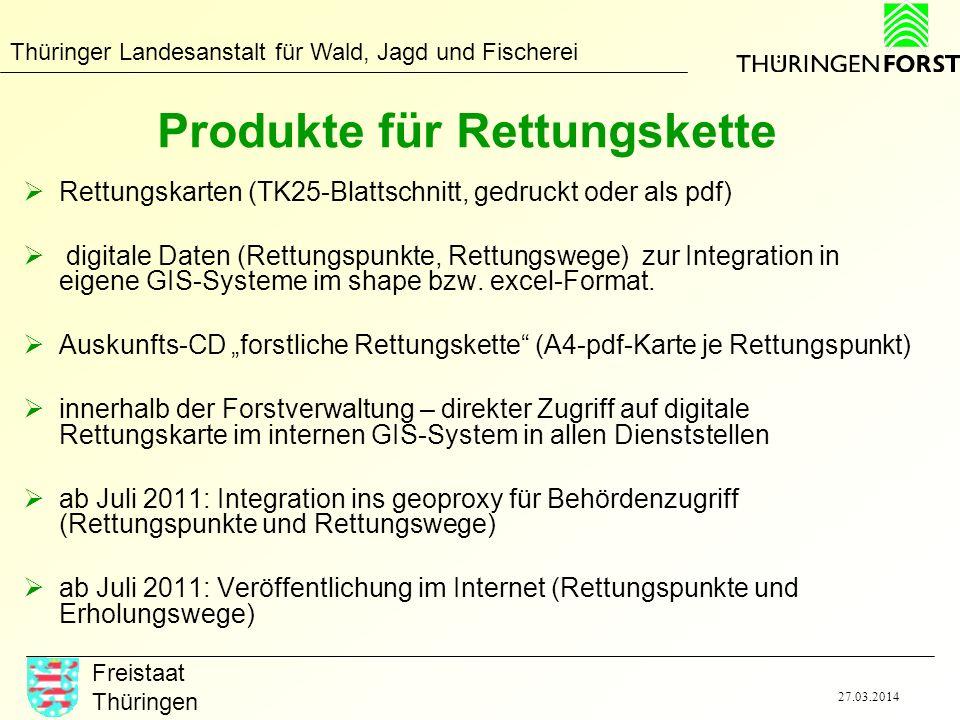 Thüringer Landesanstalt für Wald, Jagd und Fischerei Freistaat Thüringen 27.03.2014 Produkte für Rettungskette Rettungskarten (TK25-Blattschnitt, gedr