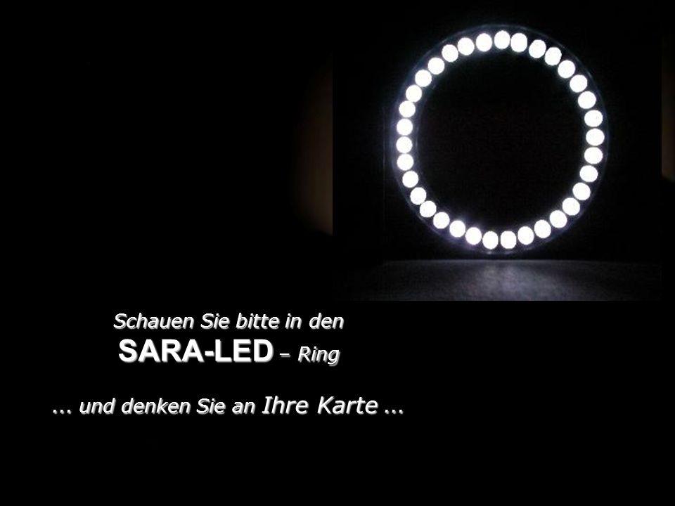 Schauen Sie bitte in den SARA-LED – Ring... und denken Sie an Ihre Karte...