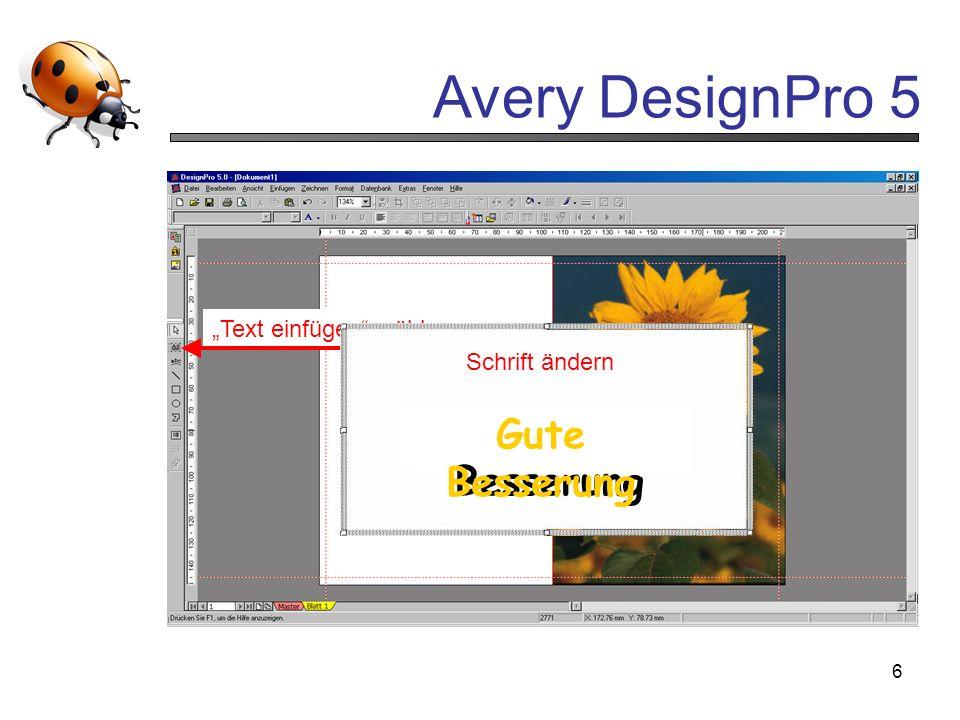 Avery DesignPro 5 6 Grösse an Vorlage anpassen wählen In rechte Fläche klicken Text einfügen wählen Schrift ändern Gute Besserung