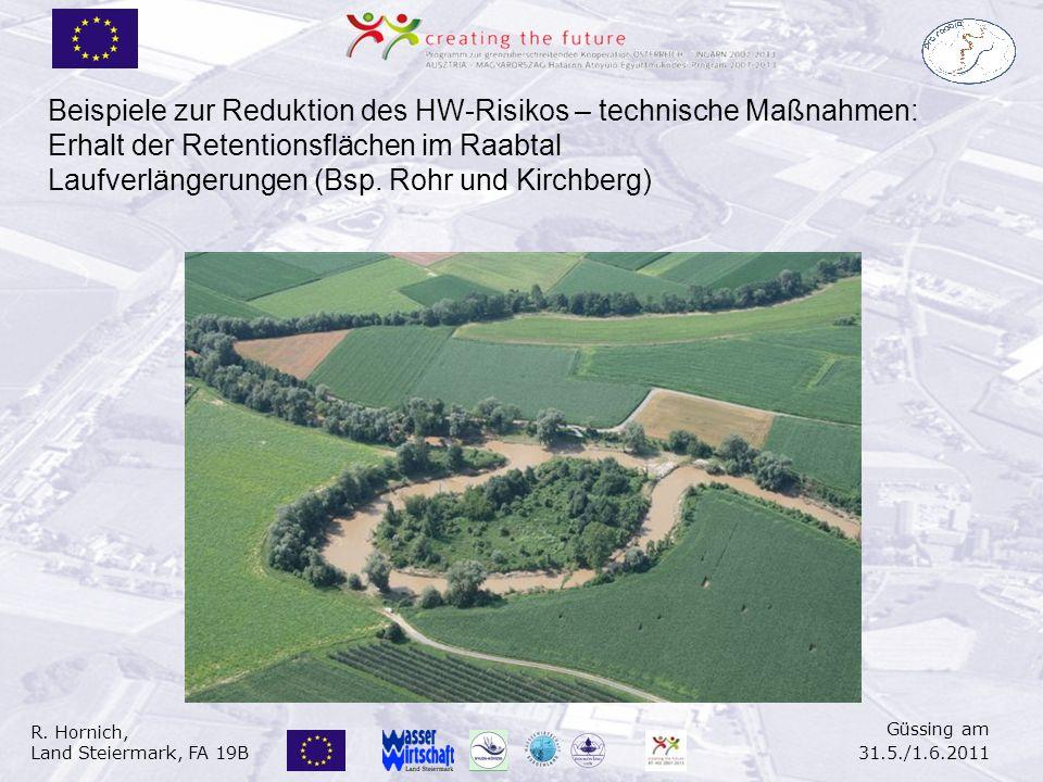 R. Hornich, Land Steiermark, FA 19B Güssing am 31.5./1.6.2011 Beispiele zur Reduktion des HW-Risikos – technische Maßnahmen: Erhalt der Retentionsfläc