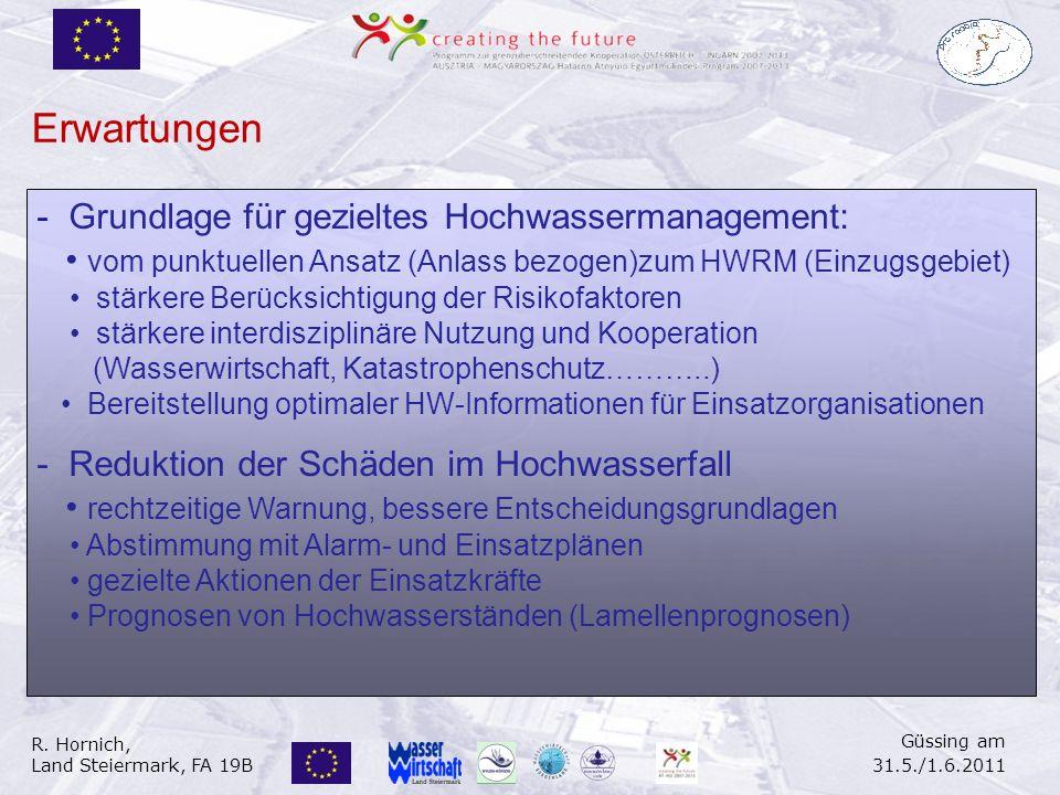 R. Hornich, Land Steiermark, FA 19B Güssing am 31.5./1.6.2011 - Grundlage für gezieltes Hochwassermanagement: vom punktuellen Ansatz (Anlass bezogen)z