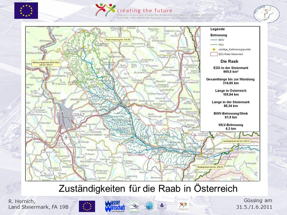 R. Hornich, Land Steiermark, FA 19B Güssing am 31.5./1.6.2011 Zuständigkeiten für die Raab in Österreich