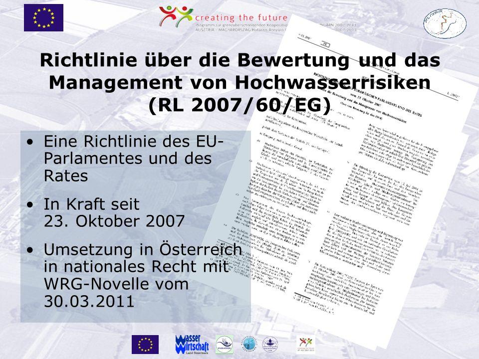 Richtlinie über die Bewertung und das Management von Hochwasserrisiken (RL 2007/60/EG) Eine Richtlinie des EU- Parlamentes und des Rates In Kraft seit 23.
