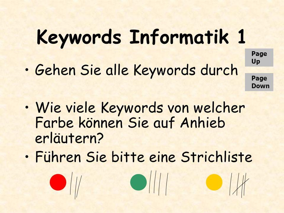 Keywords Informatik 1 Gehen Sie alle Keywords durch Wie viele Keywords von welcher Farbe können Sie auf Anhieb erläutern? Führen Sie bitte eine Strich