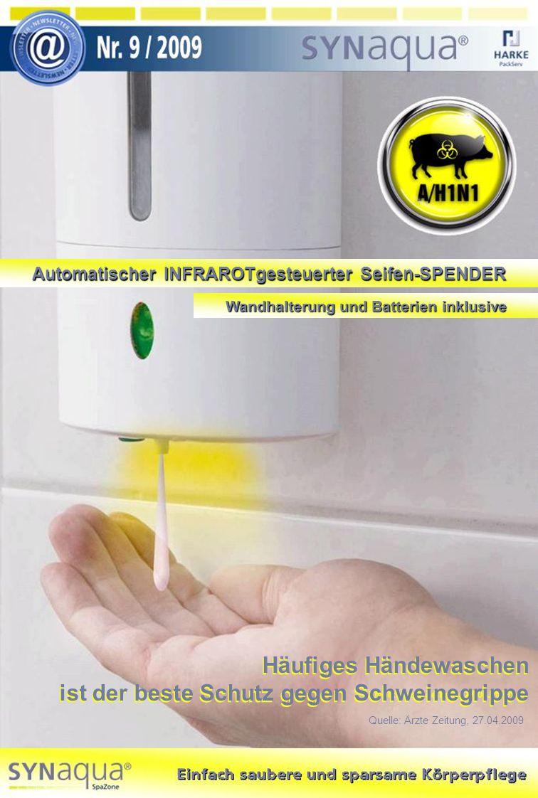 Automatischer INFRAROTgesteuerter Seifen-SPENDER Wandhalterung und Batterien inklusive Häufiges Händewaschen ist der beste Schutz gegen Schweinegrippe Quelle: Ärzte Zeitung, 27.04.2009 Häufiges Händewaschen ist der beste Schutz gegen Schweinegrippe Quelle: Ärzte Zeitung, 27.04.2009