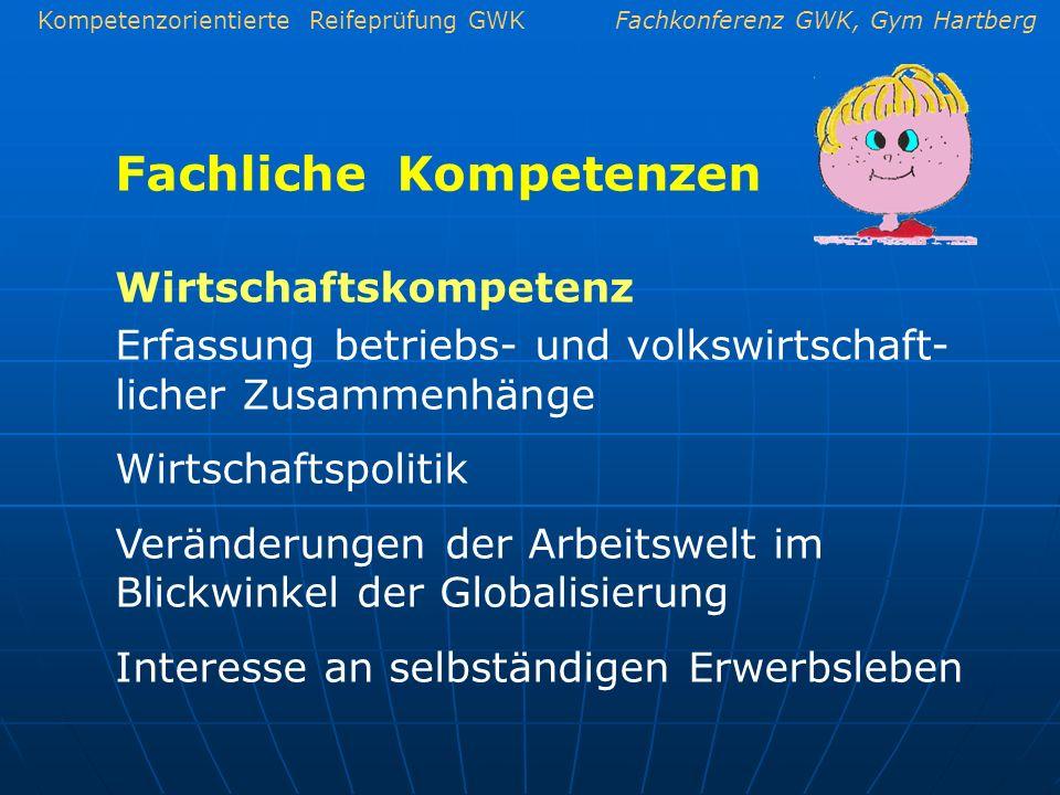 Kompetenzorientierte Reifeprüfung GWKFachkonferenz GWK, Gym Hartberg Fachliche Kompetenzen Erfassung betriebs- und volkswirtschaft- licher Zusammenhän
