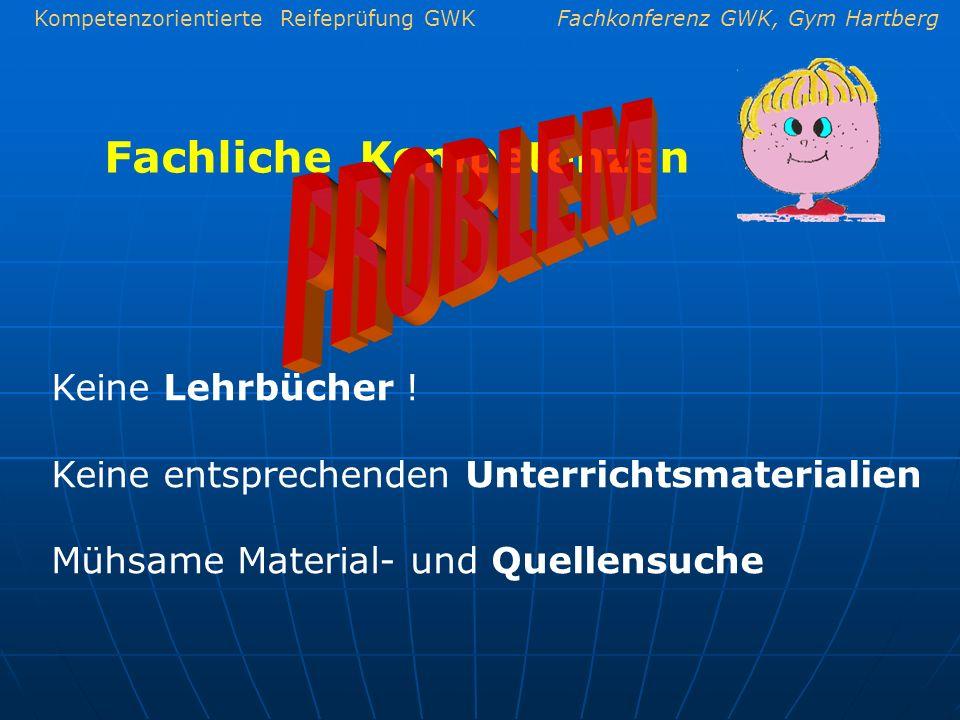 Kompetenzorientierte Reifeprüfung GWKFachkonferenz GWK, Gym Hartberg Fachliche Kompetenzen Keine Lehrbücher ! Keine entsprechenden Unterrichtsmaterial