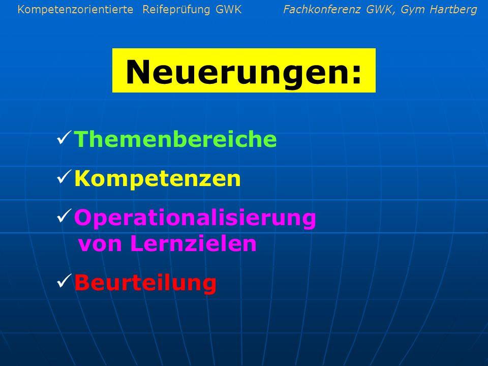Kompetenzorientierte Reifeprüfung GWKFachkonferenz GWK, Gym Hartberg Neuerungen: Themenbereiche Kompetenzen Operationalisierung von Lernzielen Beurtei