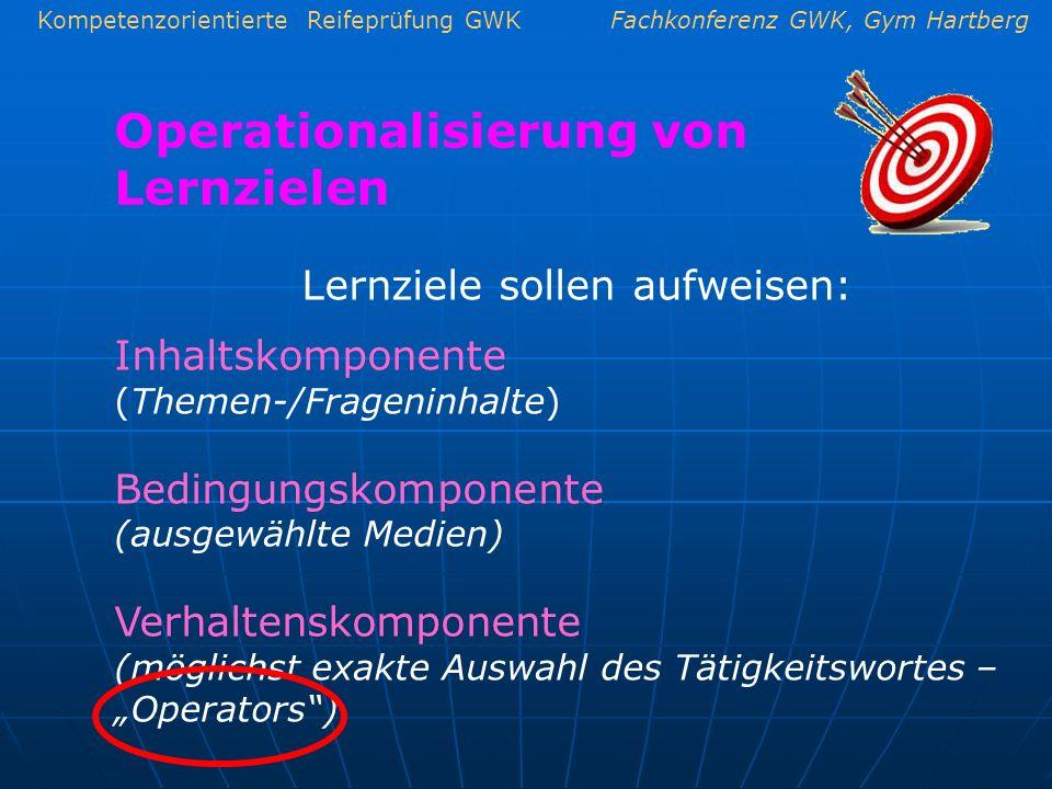 Kompetenzorientierte Reifeprüfung GWKFachkonferenz GWK, Gym Hartberg Operationalisierung von Lernzielen Lernziele sollen aufweisen: Inhaltskomponente